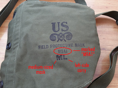 Markings on the M9A1 Gas Mask Bag