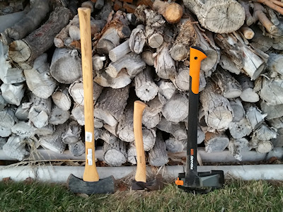Size Comparison of the Wetterlings Outdoor Bushcraft Axe with Fiskars Splitting Axe and Full-Sized Axe